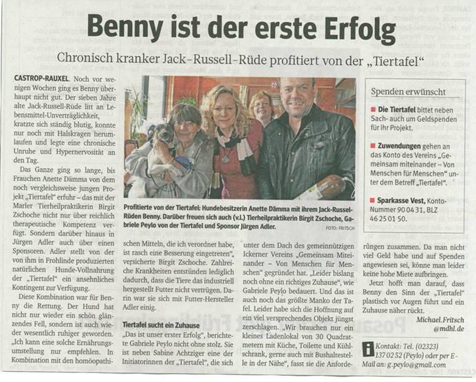 Artikel aus den Ruhr Nachrichten über Frohlinder Spende von Hundefutter an die Tiertafel in Castrop-Rauxel